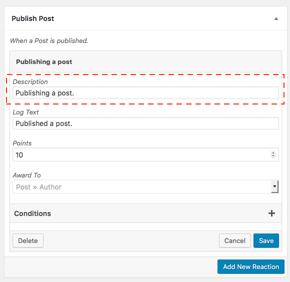 Post Publish event reaction highlighting the description field at the top of the settings form..