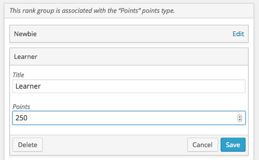 Editing a rank's Points setting