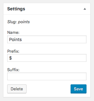 The Settings meta box for a points type.
