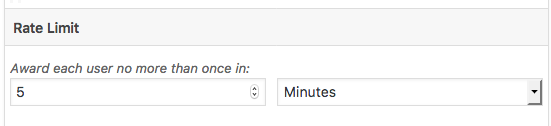Rate Limit with the settings to award users no more than once in 5 minutes.