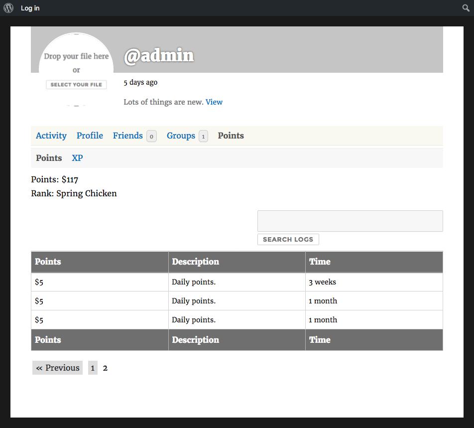 Points tab on a BuddyPress member profile